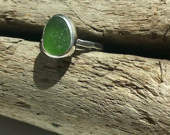 Lime Green Sea Glass Ring Size 8