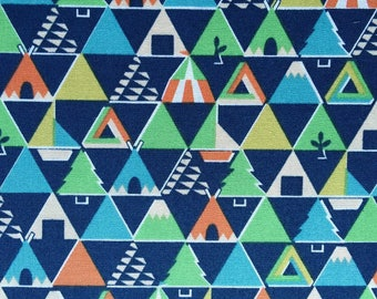 Japanese Sevenberry fabric - Cotton - blue Triangles - 50cm (110 x)