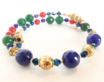 Gemstone Wrap Bracelet (Natural sapphire, emerald and ruby with Swarovski Crystal)