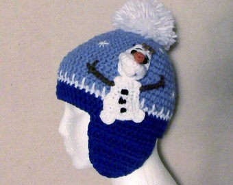 Crochet Snowman Olaf Hat, Size Child-Teen, Ready Made FREE SHIPPING within USA Only