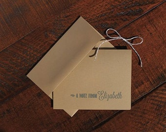 Set of 5 A note from... Kraft Note Cards. Greeting Cards. Stationery. Stationary.