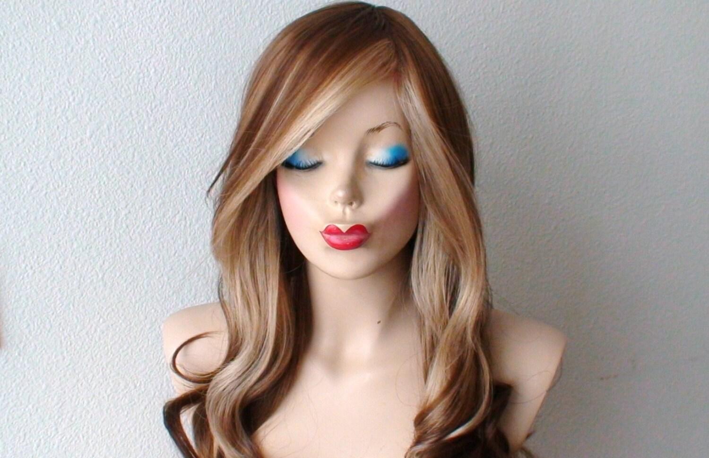 Brown/ Blonde Wig. Long Curly Hair Long Side Bangs Fashion