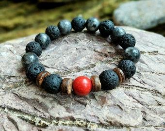 Lava stone bracelet, Coral bracelet, Men bracelet, Labradorite bracelet