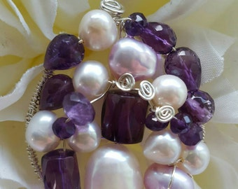 PENDANT Amethyst Pearl Wire wrapped Sterling silver Round Pendant