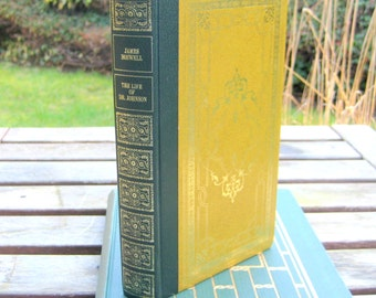 James Boswell, The Life of Dr.Johnson, vintage hardcover from Heron Books, beautiful green and gold decor, stunning cover embossed details