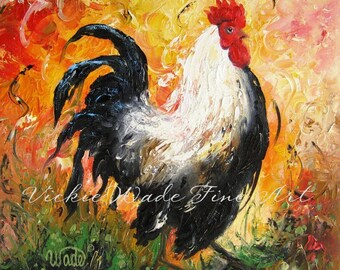 ROOSTER Art Print, rooster paintings, roosters, chicken paintings, kitchen decor, rooster wall art, rooster decor, Vickie Wade paintings