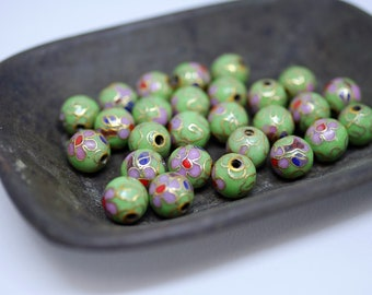 Chinese Cloisonne Beads 8mm Green Cloisonne Bead Enamel Beads Metal Beads (6 beads) CL10