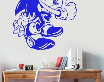 Sonic The Hedgehog Wall Decal Vinyl Sticker Comic Book Art Decorations for Home Kids Boys Room Playroom Bedroom Video Game Decor snc1