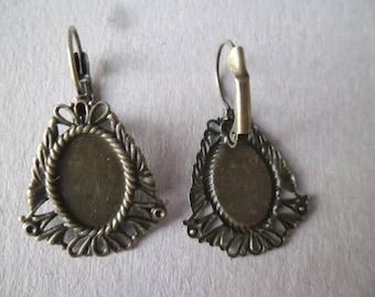 x 10 medium flower cabochon earrings bronze 3.8 x 2.4 cm
