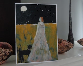 Evening Stars, 5x7 inch fine art  print mounted  on 1.5 inch deep block panel, ready to stand or hang, dogs, dog lovers, dog art