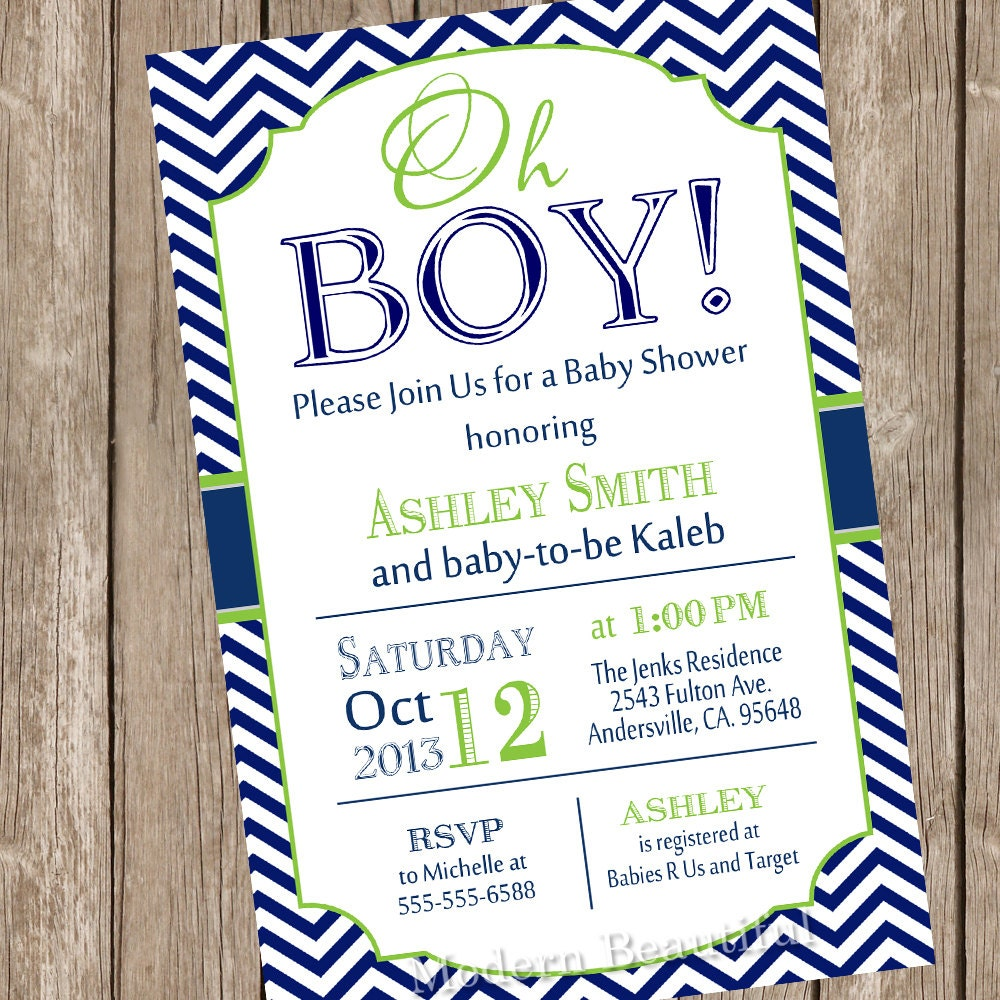 Oh Boy Baby Shower Invitation Navy And Lime Green Chevron