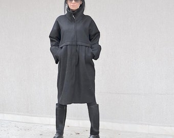 Black wool jacket, Italian high neck collar, party coat, women's plus size jacket, black evening coat, extravagant coat, warm coat
