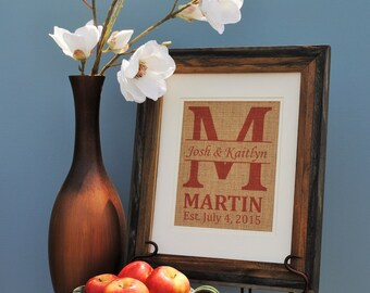 Personalized Wall Decor - Personalized Wedding Gift - Housewarming Gift - Burlap Wedding Gift - Retirement Gift Idea- Last Name Wall Art
