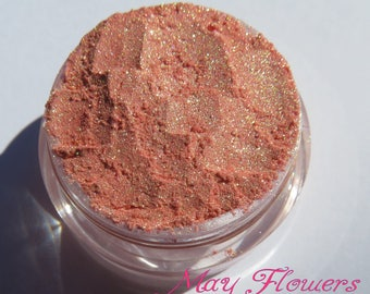 Rose Gold Mineral Eyeshadow | Golden Shimmer | Eco-Friendly | Loose Pigments | Vegan Cruelty Free Mineral Eye Shadow - May Flowers