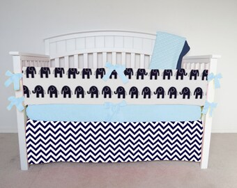 FREE SHIPPING - 4 Piece Crib Set - Navy blue chevron and navy blue elephant crib set