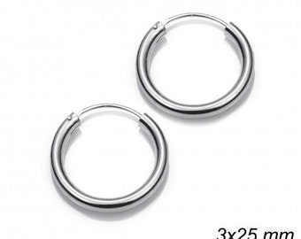 Hoops 3 X 25 Mm Sterling Silver 925