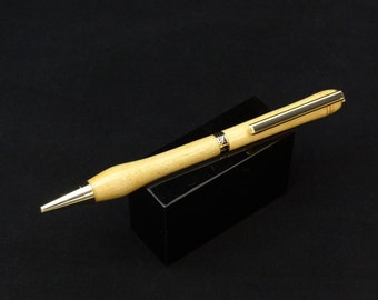Handmade twist ink pen with a Natural Maple main body by Specialty Turned Designs