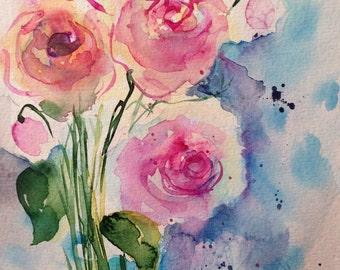 Original watercolor painting flowers image art rose flower Watercolor Flowers