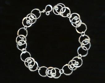 Chain Sterling Silver Beaded Bracelet Circle Links Anniversary Birthday