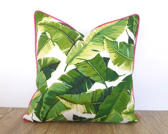 Palm leaf outdoor pillow case, tropical pillow pink piping Palm Beach decor, green outdoor cushion swaying leaves,banana leaf outdoor pillow