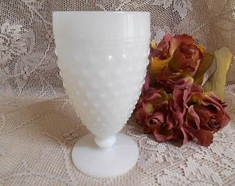 Vintage Milk Glass Comport / Vase Anchor Hocking 1950s Hobnail Glass