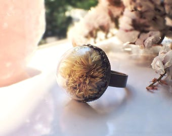 Macela flower ring with real dried flowers