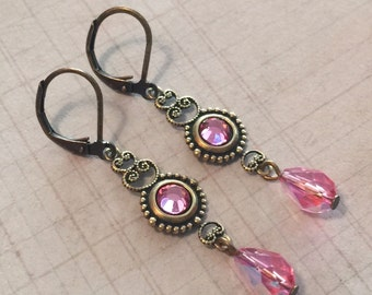 Leverback Earrings - Brass Earrings - Brass Jewelry - Crystal Earrings - Rose Pink Crystal  Antiqued Brass Filigree