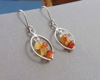 """Silver Earrings with Genuine Amber Shards - """"Autumn Dawn"""""""
