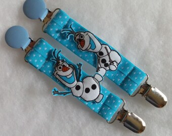 Designer Mitten Clips <> Light Blue Polka-Dotted Elastic w/ Olaf <> Two Blue Clips, One on each side