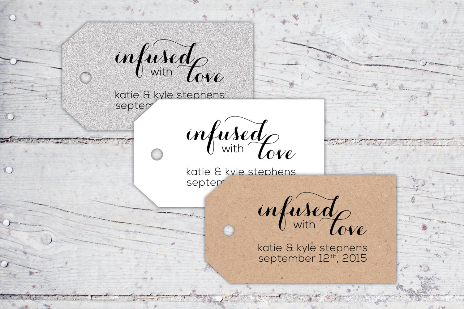 Infused With Love Olive Oil Wedding Favor Tags 3 x 1.7