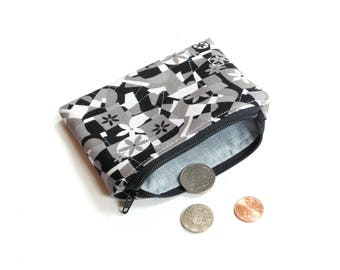 Coin pouch, change purse, zipper pouch, black grey abstract modern cotton print, coin holder, credit card case