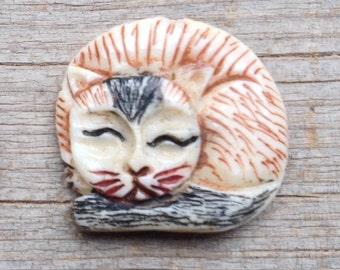 Adorable Carved Bone Brown Sleeping Cat Bead