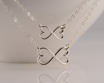 Mother daughter necklace set. Mother daughter heart infinity necklace, Mother Daughter necklace, Heart Infinity necklaces, Love Forever