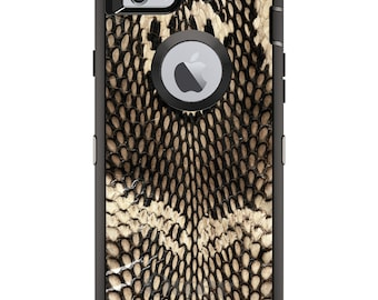 CUSTOM OtterBox Defender Case for Apple iPhone 6 6S 7 8 PLUS X 10 - Personalized Monogram - Brown Tan Snake Skin Texture