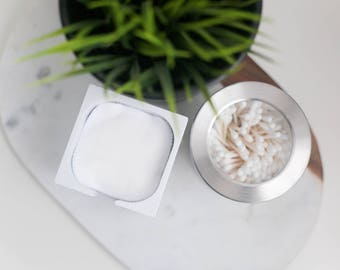 FACIAL ROUNDS CONTAINER: white painted wood with option to include washable & reusable facial rounds.