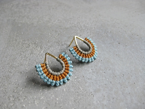 I b e y i . Gold Teardrop Textile Stud Earrings . Micro Macrame © Design by .. raïz ..