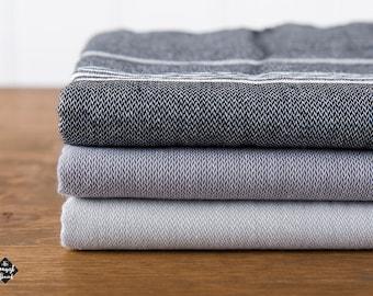 Basic Turkish Towel, Peshtemal, Black, Dark Gray, Gray Hammam Towel, Beach Towel, Travel Towel