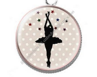 Pendant cabochon resin 8 ballerina dancer