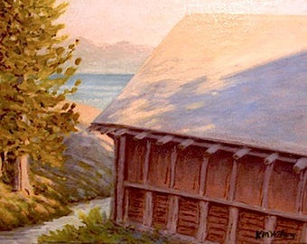 Lake Yellowstone 'Boathouse' - cabin painting - impressionist - plein air - western decor - national park art - historic building - sunset