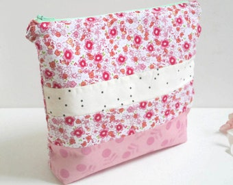 Patchwork Cosmetic Bag/Zipper Pouch/Cosmetic Bag/Toiletry Bag/Patchwork Zipper Bag/Travel Bag