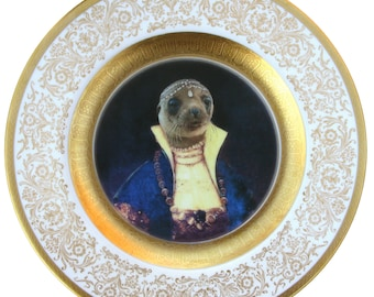 Princess Pinniped of the Caspian Sea Portrait Plate 10.75""