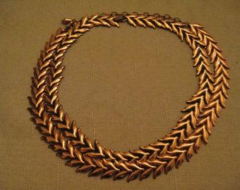 Signed RENOIR Copper Necklace Double Leaf Design Vintage 1950'Vintage CHOOSE No 1 No Extension Chain OR No 2 Extension Chain