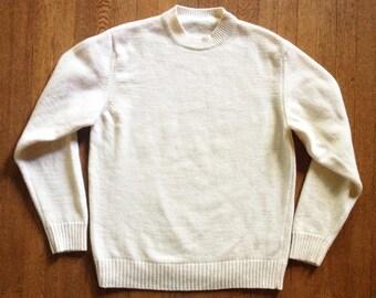 Vintage Ivory Lambswool Crewneck Sweater Minimalist Italy