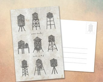 """Water Tanks NYC - Postcard 6x4"""" Illustrated Cards - Stationery - New York Skyline"""