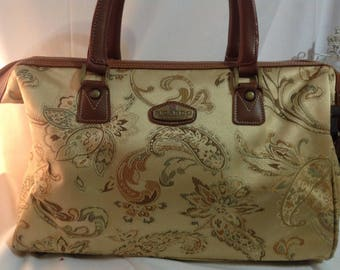 Vintage 1990/travel/Duffle Bag purse / gold Paisley Faux Leather/handmade/WeekenderBag/luggage/bag weekend bag / shoulder bag
