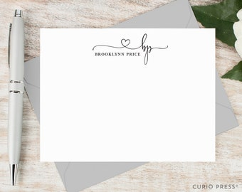 Personalized Note Card Set / Personalized Stationary Cards / Monogram Stationary / Cute Pretty Script Notecards // PRECIOUS MONOGRAM