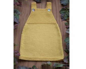 100% Organic Cotton Handknitted Baby Dress / Baby Pinafore Dress / Baby Romper / Baby Outfit