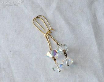Vintage AB Crystal Drop Earrings, Aurora Borealis Crystal, Vintage Beads, Drop Earrings