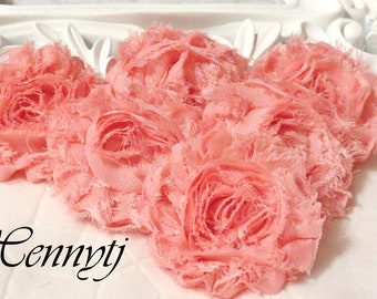 New Color: Set of 6 Shabby  Frayed Vintage look Chiffon Rosette Flowers - SALMON