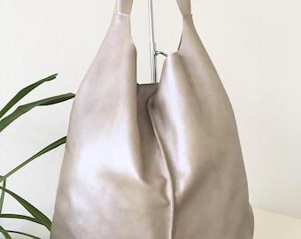 soft gold bag, Leather hobo bag, Shopping bag, Laptop bag, Handbag, Everyday bag, Large bag, Slouchybag, shoulder bag